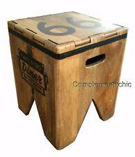 Contenitore sgabello pouf legno vintage stile industriale