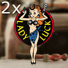 2x pieza Lady Luck Pegatina Sticker Old School Hot Rod autollante negro 130mm