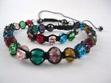 Glasperlen Schmuckset geschliffene bunte Perlen Makramee Kette +Armband