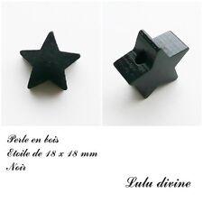 Perle en bois de 18 x 18 mm, Perle plate Etoile : Noir