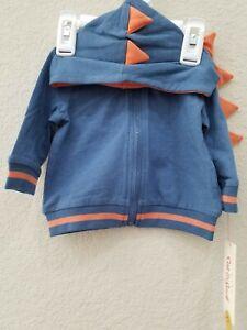 CAT & JACK Baby Boys Zip Front Dinosaur Hoodie Size 0-3 Months**Super Cute**NWT*