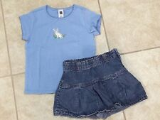 ☀GAP KIDS Girls Outfit Blue Bunny T-Shirt & Skort Shorts Adjustable Waist S 5-6