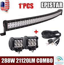 """50"""" 288W Curved LED Light Bar Combo+2X 18W 4Inch Lights For Truck Boat Bumper"""