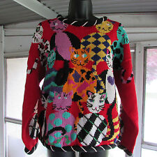 Crazy Cat Sweater Medium Perfect for Cat Lovers Kitsch Funky Novelty Sweater