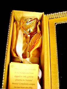 """ANNIVERSARY GIFT Gold Dipped 6"""" Real Rose in Gold Egyptian Casket Design Box"""