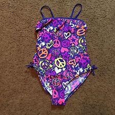 Joe Boxer One Piece Swim Suit Size 14/16 Bathing Peace Symbols