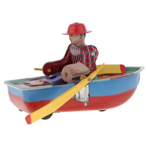 Retro Boat Clockwork Metal Tinplate Toy Collectible Gift - Wind Up to Row 2#