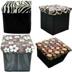 Folding Storage Pouffe Box Ottoman Seat Home Chest Chair Footstool Bench Printed