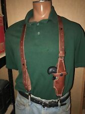 Tanned Leather Suspenders w American Derringer Holster Metal Pant Clips