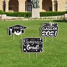 Aulinx 2021 Graduation Yard Sign Decorations Grad Cap, Waterproof 3pcs-3