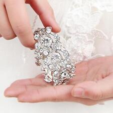 Floral Vine Bridal Bracelet Rhinestone Bridesmaid Jewelry Crystal Wedding Bangle