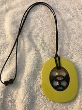 Authentic Hermes Horn Lift Adjustable Necklace Green/Brown