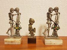 3 Sujet étain 1960-1970 1 provenance Italie couple amoureux déco vitrine Vintage