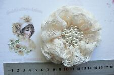 FRENCH TULLE LACE - OLD LACE Frilly Flower EACH apprx 9cm across Njoyfull Crafts