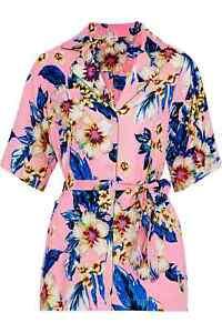 Diane Von Furstenberg Belted Printed Pajama Twill Top Pink Size 14 New RRP £195