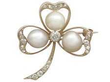 Antique Victorian 1.05 ct Diamond & Pearl 14 ct Yellow Gold Clover Brooch