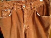 34x29 Fit True Vtg 70s Levis RUSTY HIPPY CORDS CORDUROY STRAIGHT Jeans USA