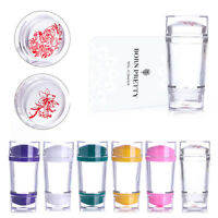 Double Head Colorful Silicone Stamper with Scraper Nail Art Stamping DIY Tool