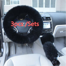 Super Soft Black Long Wool Steering Wheel Cover 1 Set Gear Shifter Parking Brake