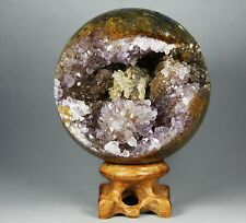 """2.9"""" NATURAL AMETHYST GEODE&AGATE SPHERE BALL REIKI w/Rosewood Stand"""