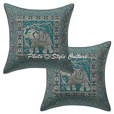 Ethnic Elephant Indian Pillow Case Cover Cotton Sea Green Home Decor Cushion