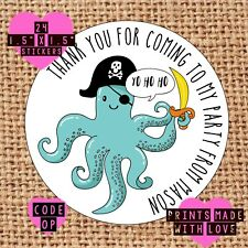 Pirate themed party bag stickers , personalised any message 11 designs to choose