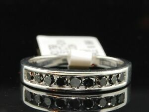 Ladies 10K White Gold Black Diamond Wedding Band Designer Engagement Ring 0.51Ct