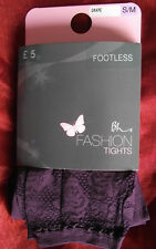 BHS Footless Tights with Lace Ankle Grape Small / Medium BNWT £5 on Pack