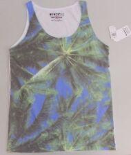 Momentus Men Shirt Sleeveless Muscle Tank T Shirt Green Blue Palm Fronds Print S