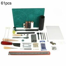 61Pc Retro Leather Craft Tools Kit Stitching Sewing Beveler Punch Work Hand Tool