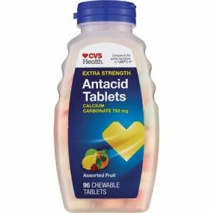 CVS Health Antacid Tablets Extra Strength, Assorted Fruit, 96 Chewable Tablets