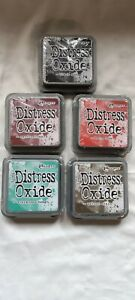 5 x Tim Holtz Distress Oxide Ink Pad Bundle Evergreen Mahogany Soot Barn Walnut