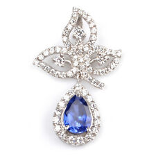 2.00 Carat 14KT White Gold Natural Blue Tanzanite Diamond EGL Certified Pendant