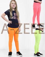Girls Neon Leggings Kids Dance Trousers Pants Party Children Footless 7-13 Years