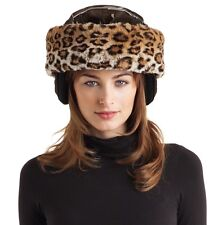 Woman's Leopard Winter Faux Fur Ski Helmet, Shawl, Scarf, Ear Warmer Headband