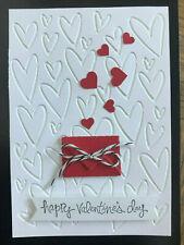Stampin Up HAPPY VALENTINE'S DAY stamp, ENVELOPE DIE & HEARTS Embossing folder