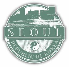 "Seoul Korea Grunge Rubber Travel Stamp Car Bumper Sticker Decal 5"" x 5"""