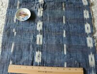 """French Antique Indigo Woven Ikat Quilted Fabric Piece~L-32'X W-16"""""""