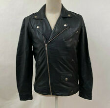 Obey Men's Leather Motocycle Jacket Corporate Bastards Black Size M NWT Andre
