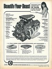 1969 Print Ad Cal Custom Chrome Engine Accessories Beautify Your Beast Sexy Girl
