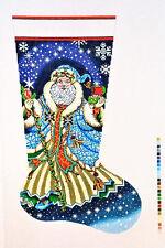 NEEDLEPOINT HANDPAINTED Canvas LEE Christmas STOCKING Santa w/ Blue Robe 13M