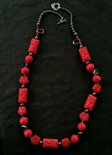 Vintage Chinese hand carved large red cinnabar & sterling silver necklace 110 g