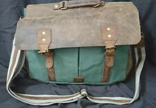 Leather and Canvas Messenger Bags/ Lap Top Bag/xl/green #2