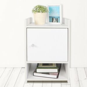 White Bedside Table Cabinet Small Side End Table Nightstand Storage Organizer