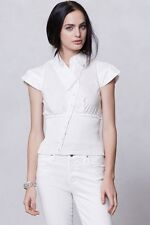 ANTHROPOLOGIE BY BYRON LARS Smocked Corset Blouse in White sz 2 #f393