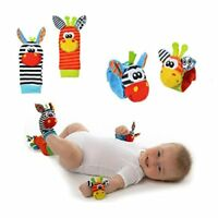 4 PCS Baby Wrist Rattle Foot Finder Socks Zebra & Giraffe Set FAST FREE SHIPPING