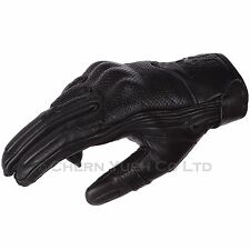 Black Vented Leather Motorcycle Street Bike Protective Gloves Large & Carabiner