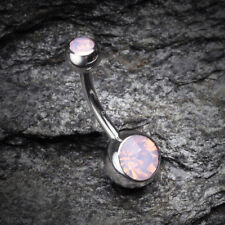Opalite Double Gem Ball Steel Belly Button Ring - Rose Water Opal