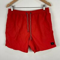 Globe Mens Shorts 34 Red Drawstring Elastic Waist Pockets