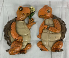 """Vtg. MCM BURWOOD PRODUCTS Courting Turtles Tortoise 3D WALL DECOR RETRO 10"""""""